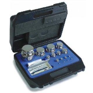 1 mg - 5 kg - E2 Gewichtssatz Prüfgewichte Knopfform, Edelstahl poliert im Kunststoffkoffer geeicht