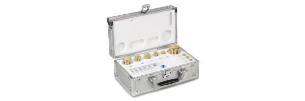 M1  Gewichtssätze Knopfform Messing feingedreht Aluminium-Koffer