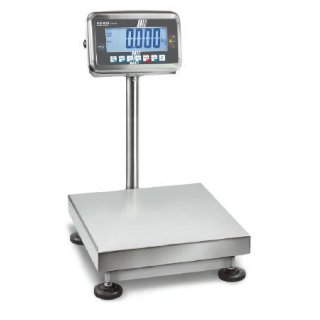 Edelstahlwaage mit Eichzulassung, IP67, Hinterleuchtetes LCD-Display Max 10 kg   d=1 g   300x240 mm mit DKD-Kalibrierschein ohne Eichung