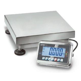Edelstahl-Plattformwaage große Wägeplatte auch geeicht - eichfähig Max 150 kg    d=50 g   500x400 mm   Option Eichung mit DKD-Kalibrierschein mit Eichung der Waage