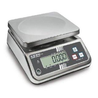 Edelstahl Tischwaage mit großem Wägebereich und IP65 Schutz Max 6 kg   d=1 g mit DAkkS-Kalibrierschein ohne Eichung