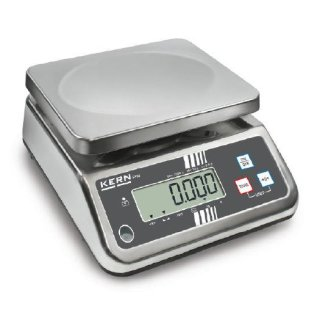 Edelstahl Tischwaage mit großem Wägebereich und IP65 Schutz Max 15 kg |  d=5 g | Option Eichung mit DAkkS-Kalibrierschein mit Eichung der Waage