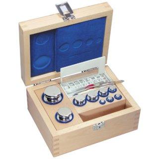 1 g - 500 g - E1 Gewichtssatz Knopfform Edelstahl im Holz-Etui