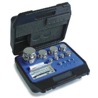 1 g - 50 g - E2 Gewichtssatz Knopfform, Edelstahl poliert im Kunststoffkoffer