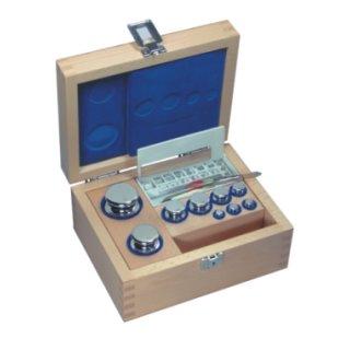 1 g - 50 g E2 Gewichtssätze, Knopfform, Edelstahl poliert, im Holz-Etui